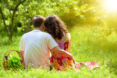 Young couple at picnic royalty free stock image