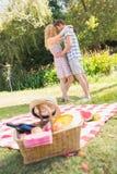 Young couple on a picnic Stock Photos