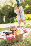 Young couple on a picnic Royalty Free Stock Image