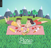 Young couple on picnic, template with grass Royalty Free Stock Photo