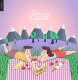 Young couple on picnic, template with lilac sky Royalty Free Stock Photo