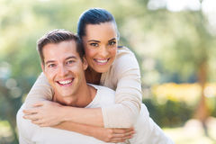 Young couple piggybacking Royalty Free Stock Images