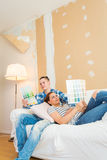 Young couple plannig renovation Royalty Free Stock Photo