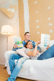Young couple plannig renovation Royalty Free Stock Images