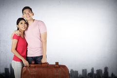 Young couple planning to travel around the world Royalty Free Stock Photo