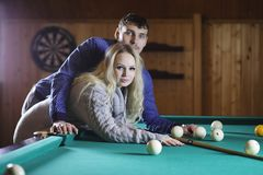 Young Couple Billiards Love royalty free stock image