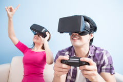 Young couple play vr game Stock Image
