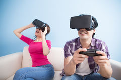 Young couple play vr game Stock Images