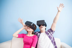 Young couple play vr game Royalty Free Stock Image