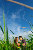 Young couple playing around in the nature Royalty Free Stock Photography