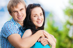 Young couple playing around in the nature Royalty Free Stock Images