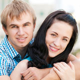 Young couple playing around in the nature Stock Images