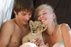 Young couple playing with little lion cub Stock Photo