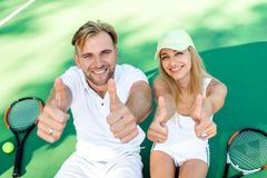 Young couple playing tennis Royalty Free Stock Images