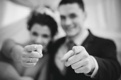 Young couple pointing Stock Images