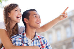 Young couple pointing Stock Photo