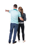 Young couple pointing. Stock Photos