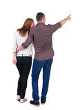 Young couple pointing. Royalty Free Stock Image