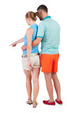 Young couple pointing. Royalty Free Stock Images