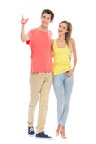 Young couple pointing Royalty Free Stock Images