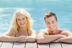 Young couple at the pool Royalty Free Stock Image