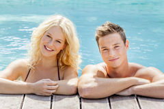 Young couple at the pool Royalty Free Stock Images