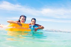 Young Couple With Pool Raft royalty free stock photos