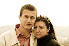 Young couple portrait. A warm portrait of a young couple in love Royalty Free Stock Photo