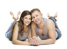Young Couple Portrait, Happy Girl Boy Friend, Hand in Hand Stock Images