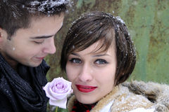 Young couple portraits in winter Stock Photo