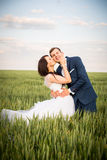 Young couple posing on a field. After marriage Royalty Free Stock Photography