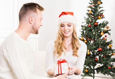 Young couple posing next to a Christmas tree Royalty Free Stock Image