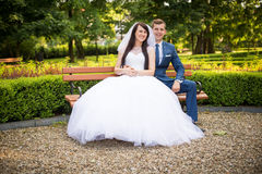 Young couple posing in park Stock Image
