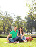 Young couple posing on a picnic in park Royalty Free Stock Photo