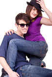 Young  couple posing on white background Royalty Free Stock Image