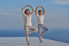 Young couple practicing yoga Royalty Free Stock Image