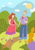 Young couple with pregnant wife walking hand in hand in a park in summer enjoying ice creams as they await the birth of vector illustration