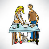 Young couple preparing food Royalty Free Stock Photo