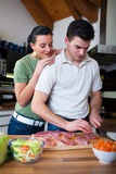 Young couple preparing lunch  in kitchen Royalty Free Stock Photos
