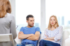 Young couple with a problem at psychologist office Royalty Free Stock Photo