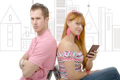 Young couple with problems, woman phone Stock Images