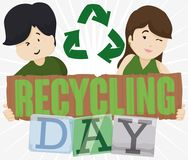 Young Couple Promoting Recycling for Recycling Day Celebration, Vector Illustration. Couple holding a sign made out of recycled cardboard and other recyclable Royalty Free Stock Photography