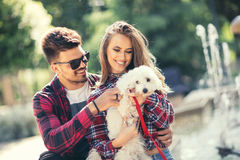 Young couple with puppy. Portrait of attractive happy smiling young women and men holding cute little dog, summer park outdoor stock image