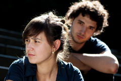 Young couple after quarrel. Outside Stock Photography