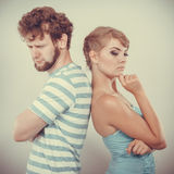 Young couple after quarrel offended back to back Stock Image