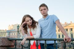 Young couple quarrel outdoor. Stock Photo