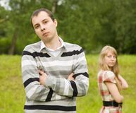 Young couple after quarrel outside Stock Images