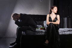 Young Couple Quarreling While at the Bedroom Royalty Free Stock Image