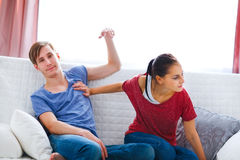 Young couple quarreling at home Royalty Free Stock Images