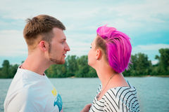 Young couple quarreling on the nature Royalty Free Stock Photos